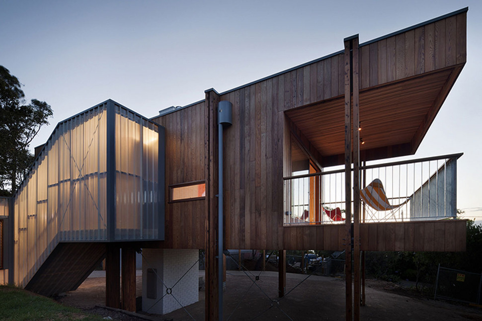 Awesome Timber Beach Shack Finished in Plywood  Modern House Designs