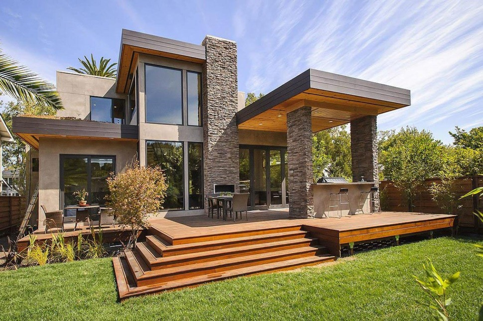 House with Outdoor Kitchen Setup  Modern House Designs
