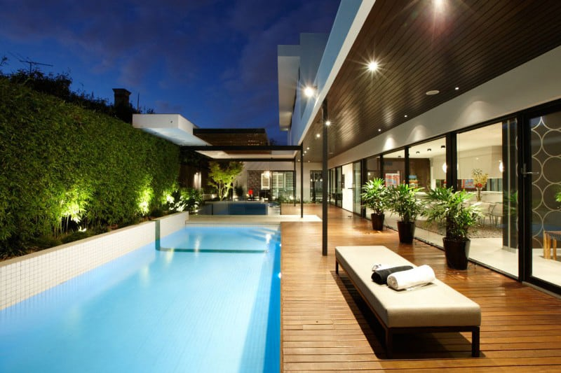 Indoor outdoor house design with alfresco terrace living area  Modern House Designs