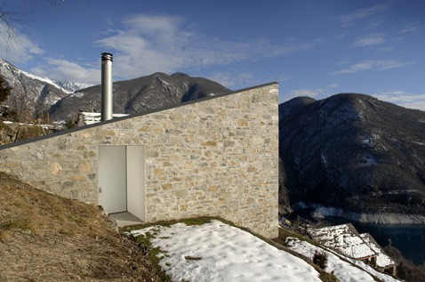 Stone House Fronts Rustic Addition To Swiss Mountains Modern House Designs