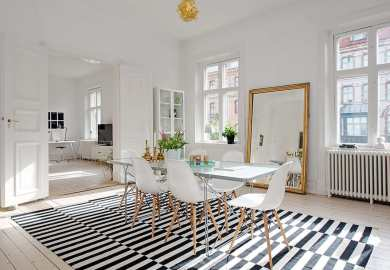 Black And White Striped Dining Chairs