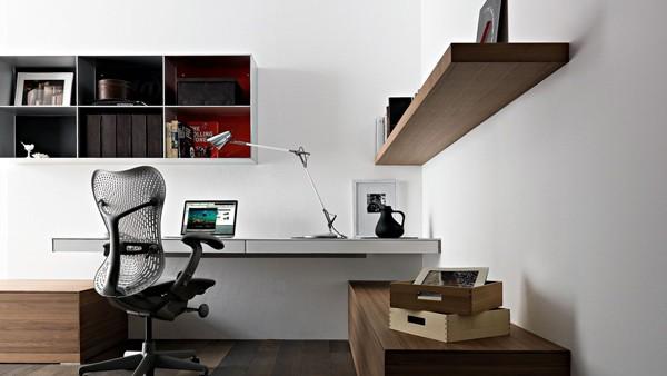simple home office design ideas Simple Home Office Design Ideas: wall mounted laptop desk