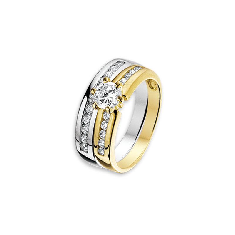 Bicolor gouden zirkonia ring 4204860 Trendjuwelier