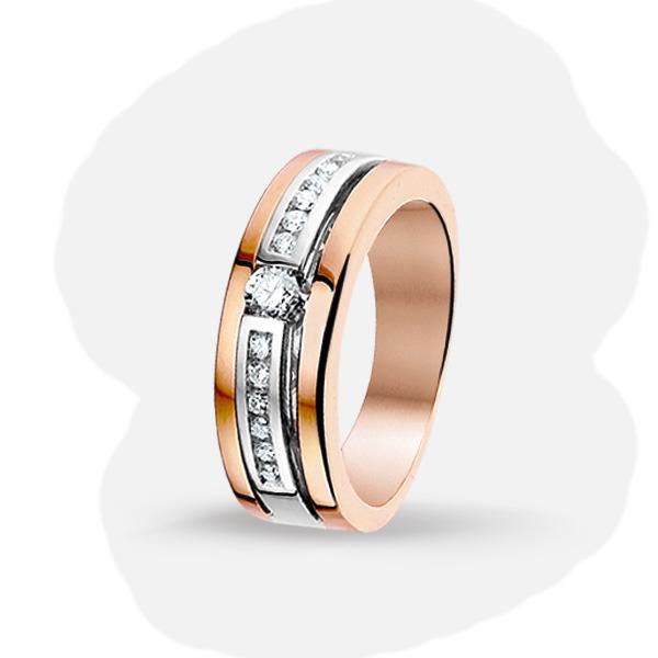 Bicolor gouden ring met diamant 4500175  Trendjuwelier