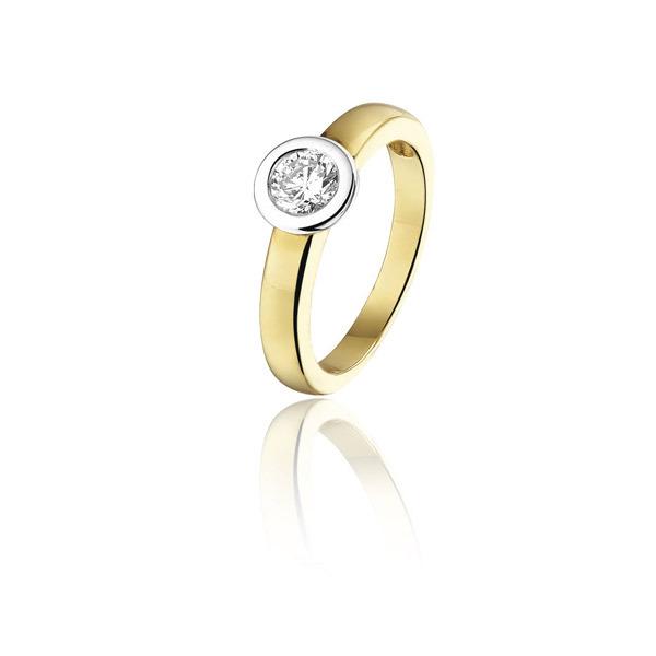 Bicolor Gouden ring met diamant  1011TR