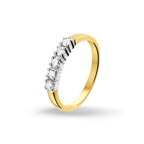 Bicolor gouden dames ring met diamant 4206957  Trendjuwelier