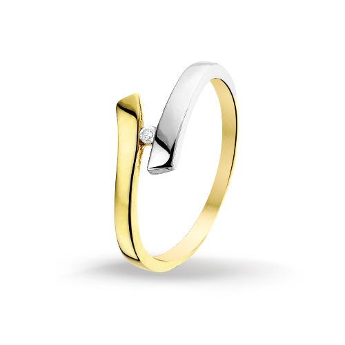 Bicolor gouden dames ring met diamant 4206042  Trendjuwelier