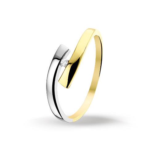 Bicolor gouden dames ring met diamant 4206067  Trendjuwelier