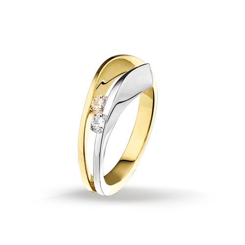 Bicolor gouden ring met diamant 4205995  Trendjuwelier