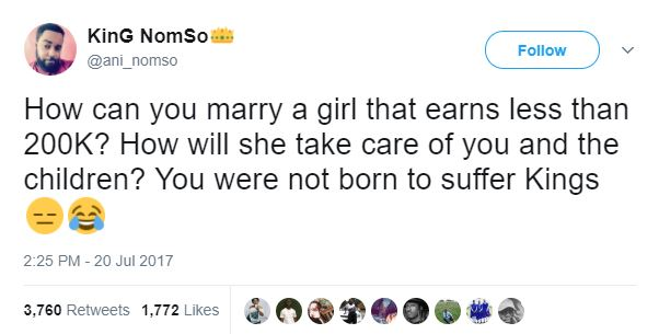 """Do not marry any girl who earns less than N200k monthly"" — This Nigerian Guy says"