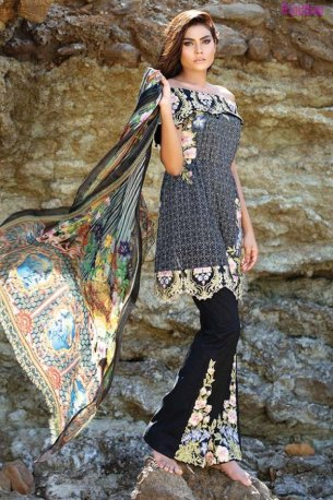 1572-PIRATE-BLACK EMBROIDERED LAWN UNSTITCHED 5,790
