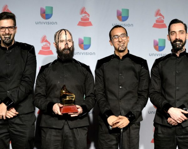 LAS VEGAS, NV - NOVEMBER 21:  (L-R) Recording artists Daniel De Sousa, Rafael Perez, Henry D'Arthenay, and Sebastian Ayala of La Vida Bohème pose in the press room at the 14th Annual Latin GRAMMY Awards held at the Mandalay Bay Events Center on November 21, 2013 in Las Vegas, Nevada.  (Photo by Jason Merritt/Getty Images)