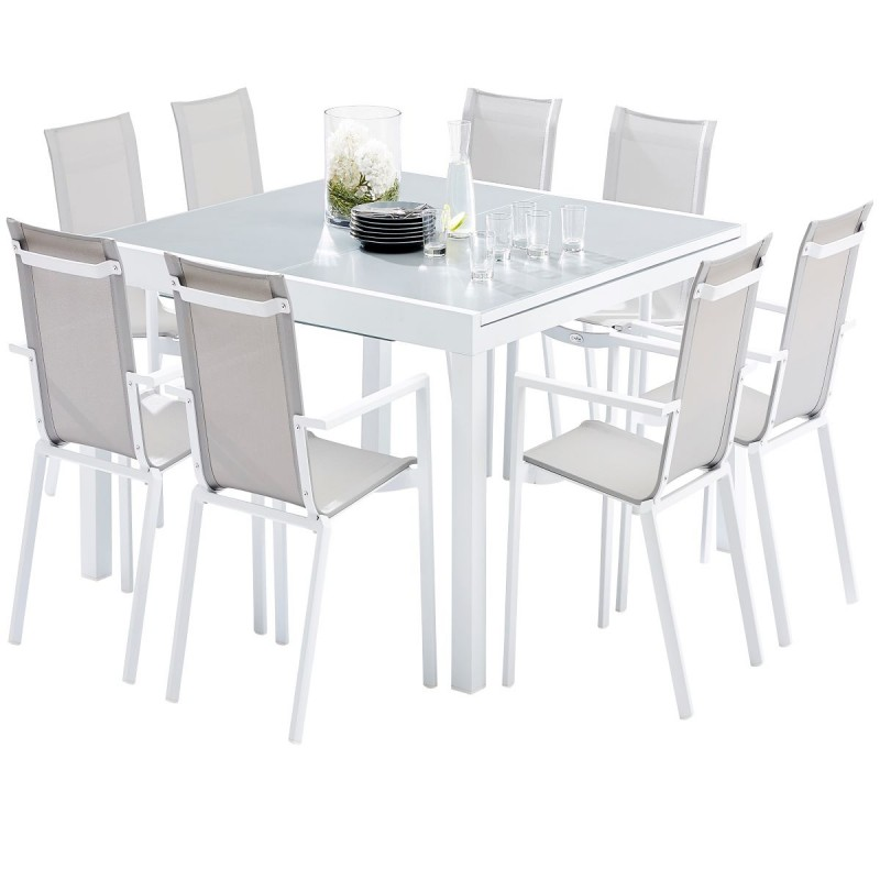 salon de jardin table extensible l150 240cm et 8 fauteuils col blanc et gris white star wilsa