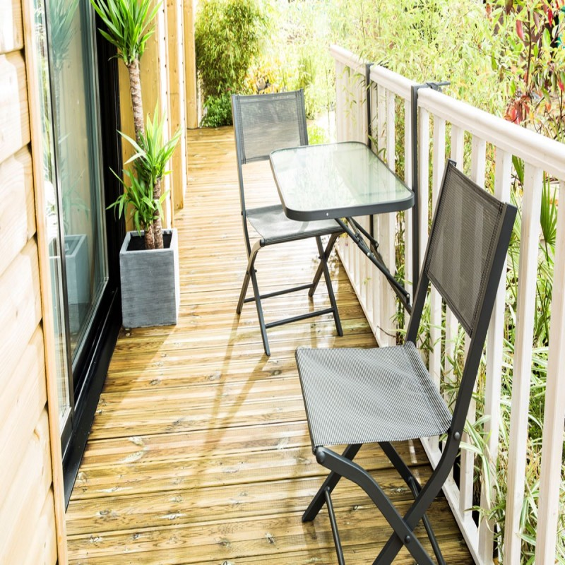 salon de jardin pour balcon acier alu gris anthracite bistro wilsa
