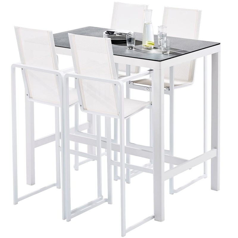 ensemble table haute de jardin avec 4 fauteuils en aluminium blanc barset wilsa