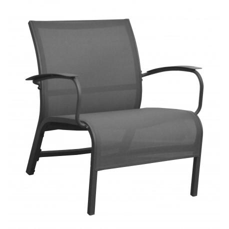 fauteuil lounge en aluminium epoxy gris et textylene gris linea lot de 4 proloisirs