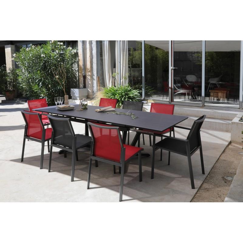 table extensible en aluminium epoxy et plateau en verre trempe gris l150 200 250x90x74 vita proloisirs