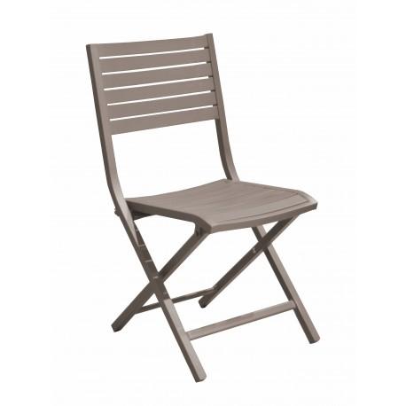 chaise pliante en aluminium epoxy taupe lucca lot de 6 proloisirs
