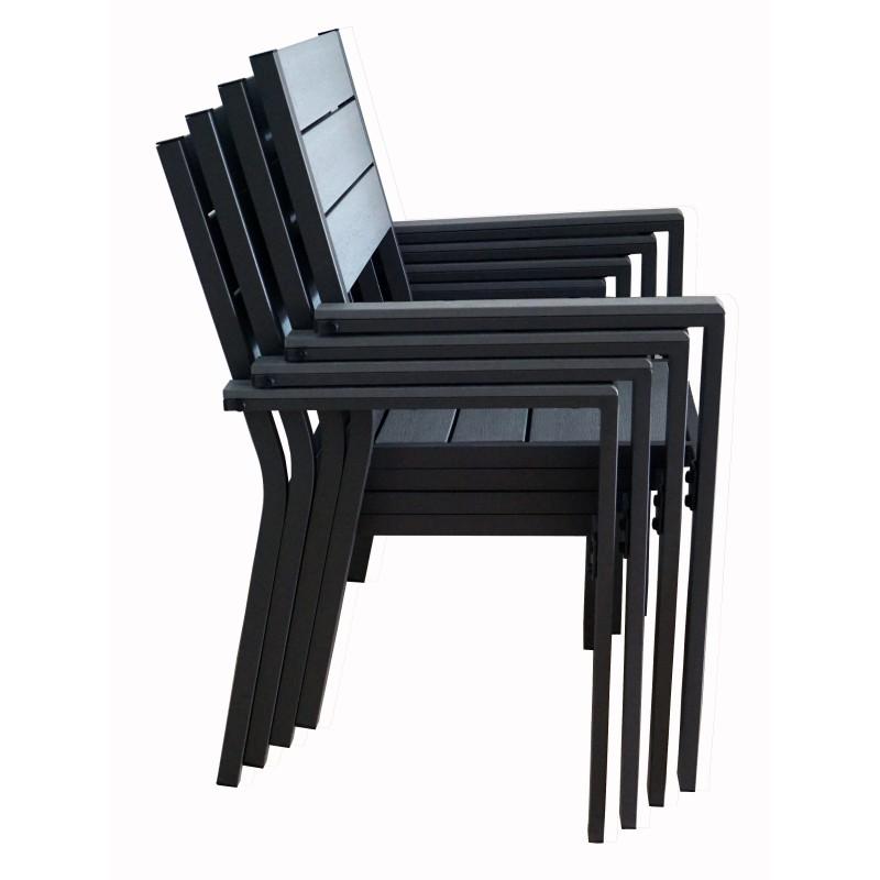 8 fauteuils en aluminium et bois composite