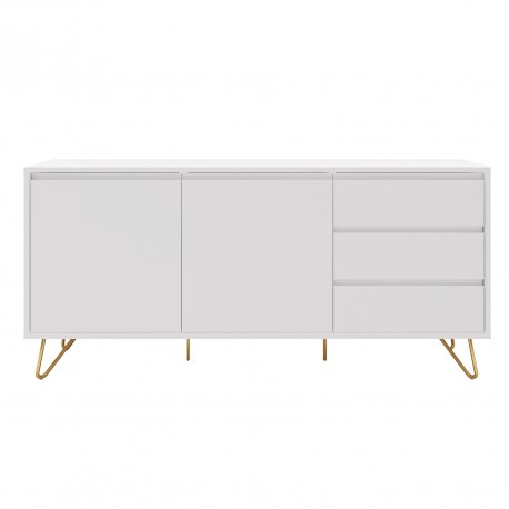 buffet 2 portes 3 tiroirs laque blanc mat et pieds metal dore 150x40xh70cm come meja
