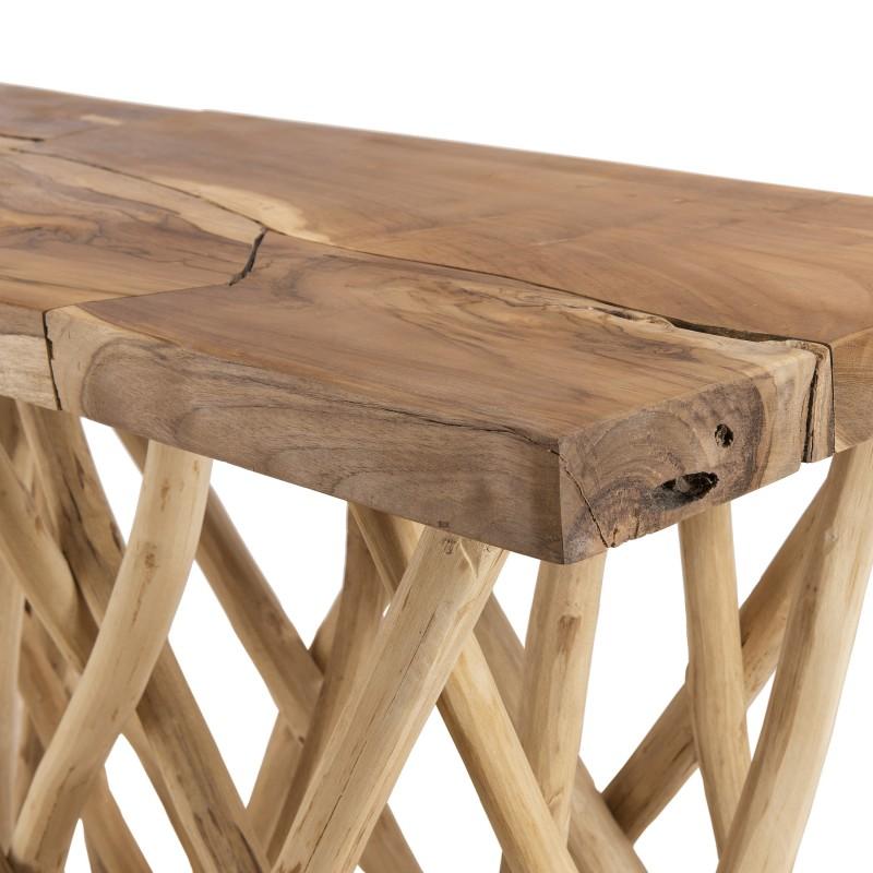 console en teck massif et pieds en bois