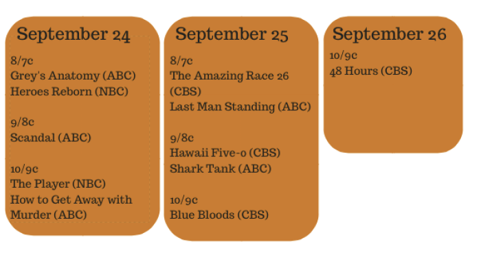 Fall TV Premiere Dates #FiOSNY