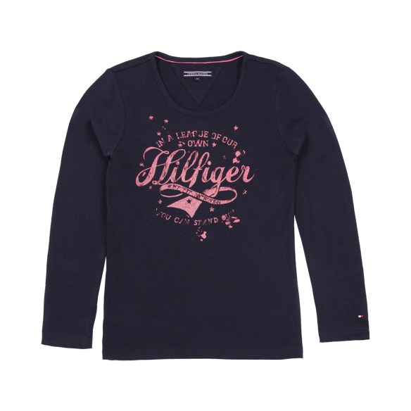 t-shirt-girls-hilfiger-blu-notte