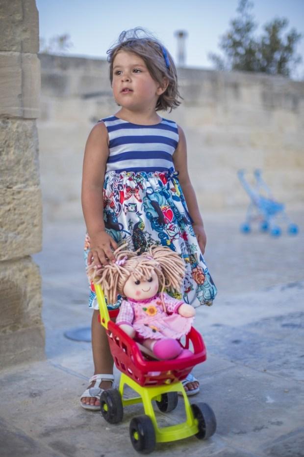 abito a righe e fiori Loredana per bambine