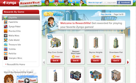 Screenshot of RewardVille.com