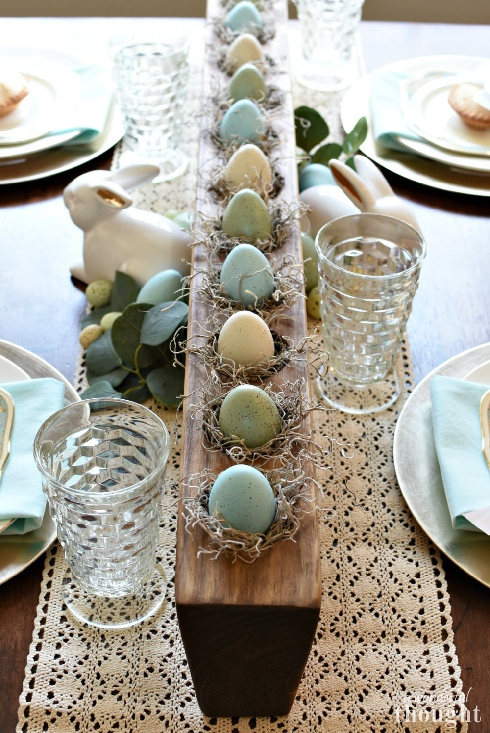 Easter Table with Natural and Colorful Centerpieces