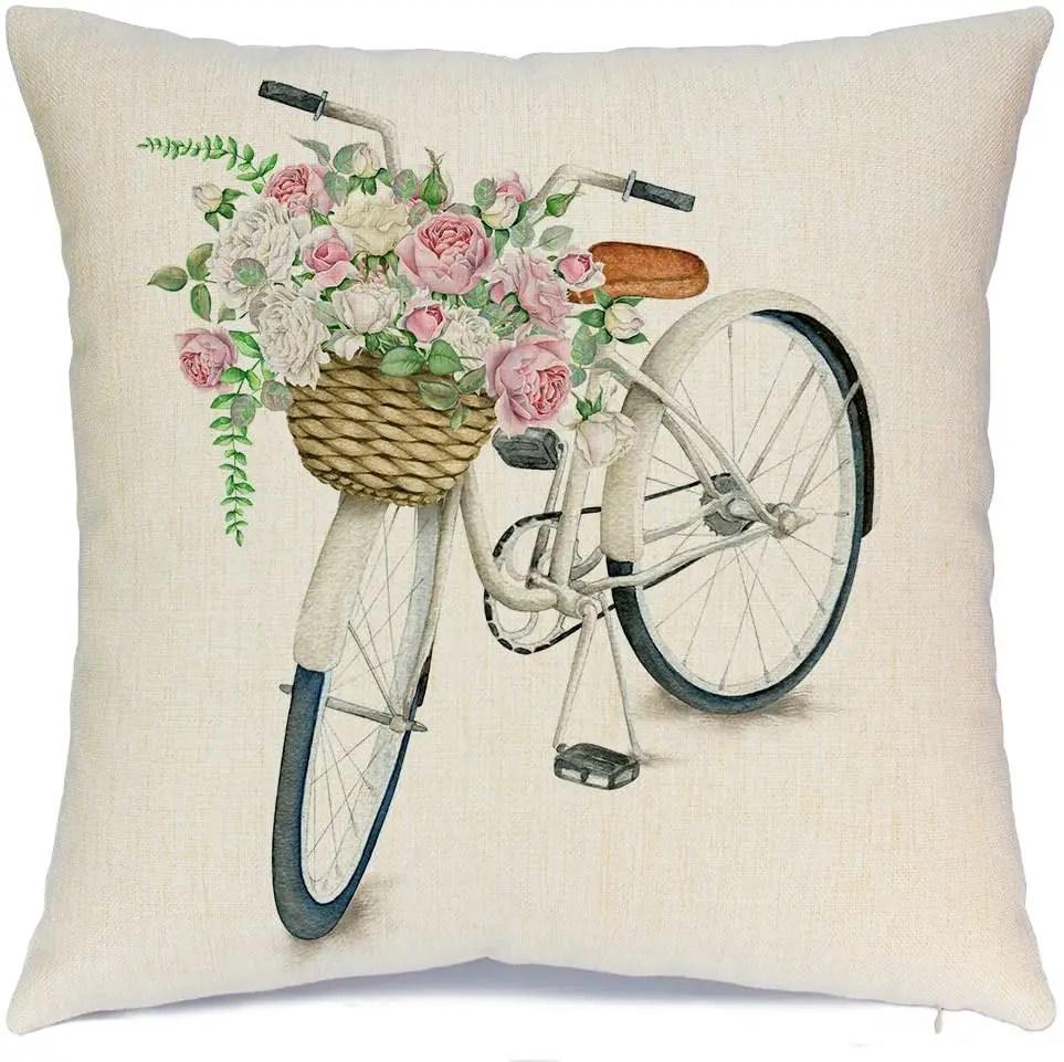 Bicycle-Vintage-Spring-Pillowcase
