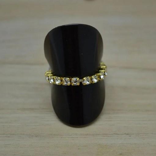Elastische ring Trento gold en zirkonia - Trendy Juweeltjes