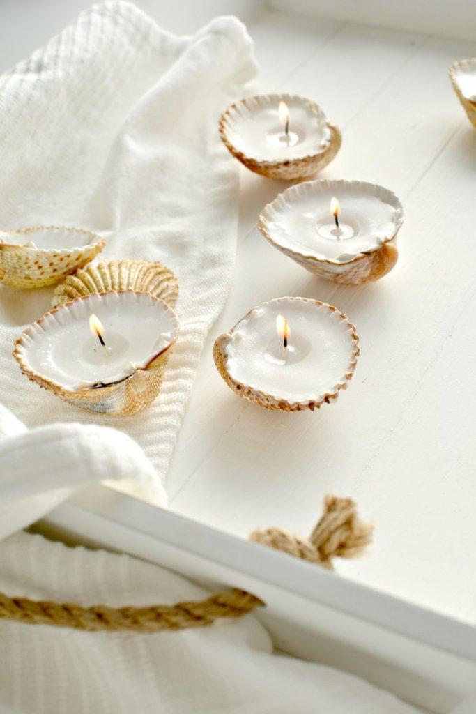 handmade gift ideas shell tealights