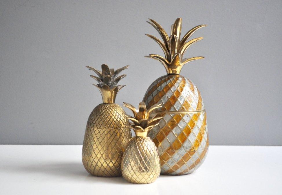 En laiton bicolore Vintage ananas contenant ou un porte-bougie