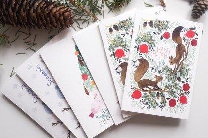 Carte de Noël ensemble, 6 carte de Noël avec illustrations à l'aquarelle, 6 cartes de Noël bois