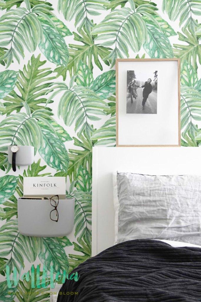 30 % de réduction de Monstera feuilles motif de papier peint, papier peint amovible, feuilles de Monstera exotique Sticker Mural, papier peint, fond d'écran Tropical, 102
