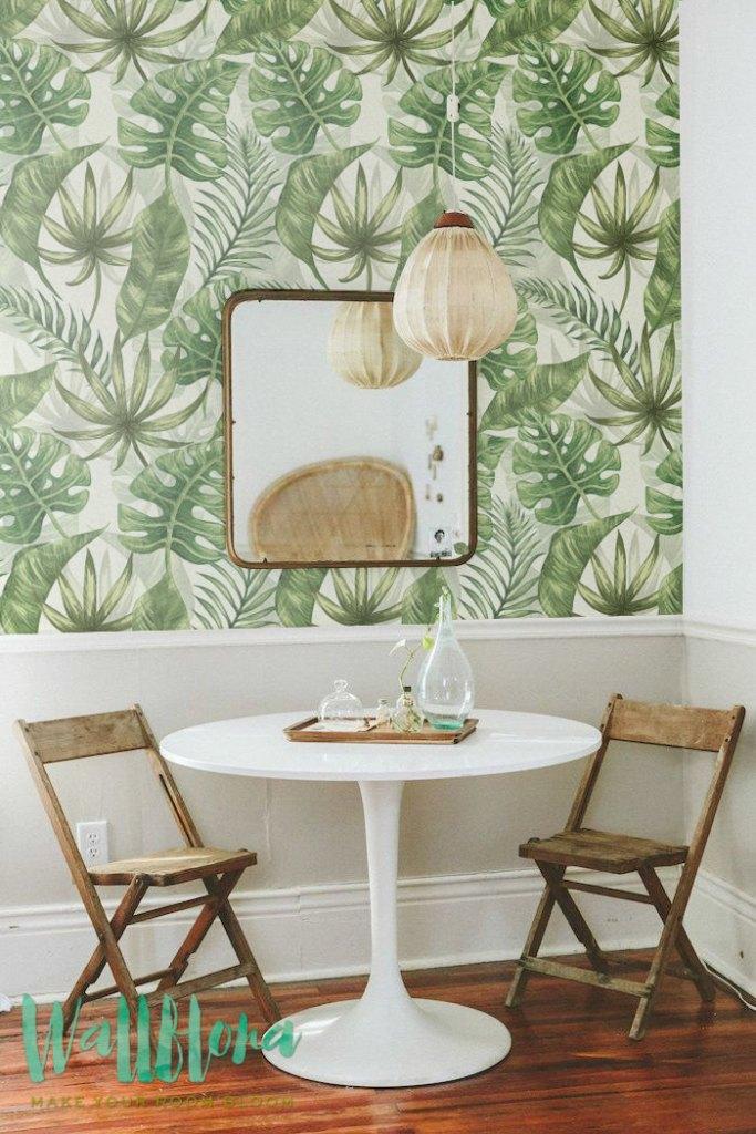 30 % de réduction du Tropical motif papier peint, papier peint amovible exotique, papier peint, peinture murale de mur exotique de feuilles de palmier, feuilles de palmier auto-adhésive Wal