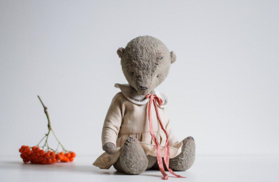 VENTE 30 % de RÉDUCTION cadeau pour son ours en peluche en robe en coton brodé Colar 9 pouces peluche Animal en peluche à la main livraison gratuite