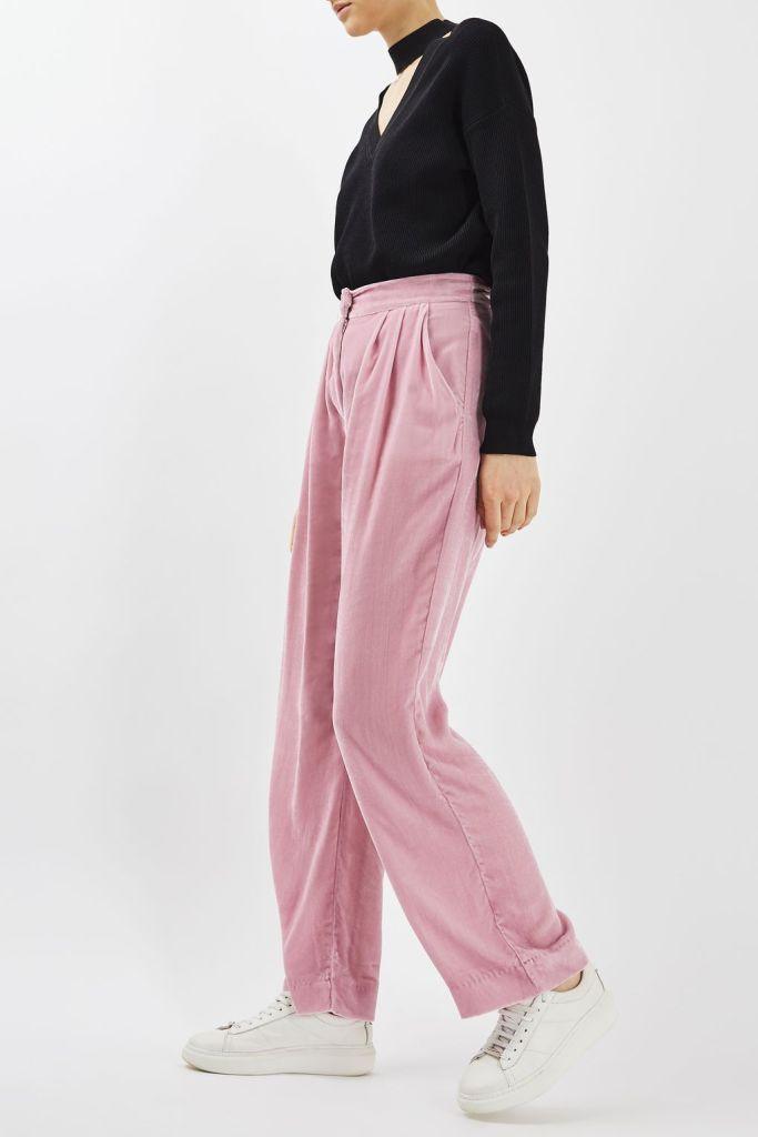 Pantalon large en velours rose Topshop