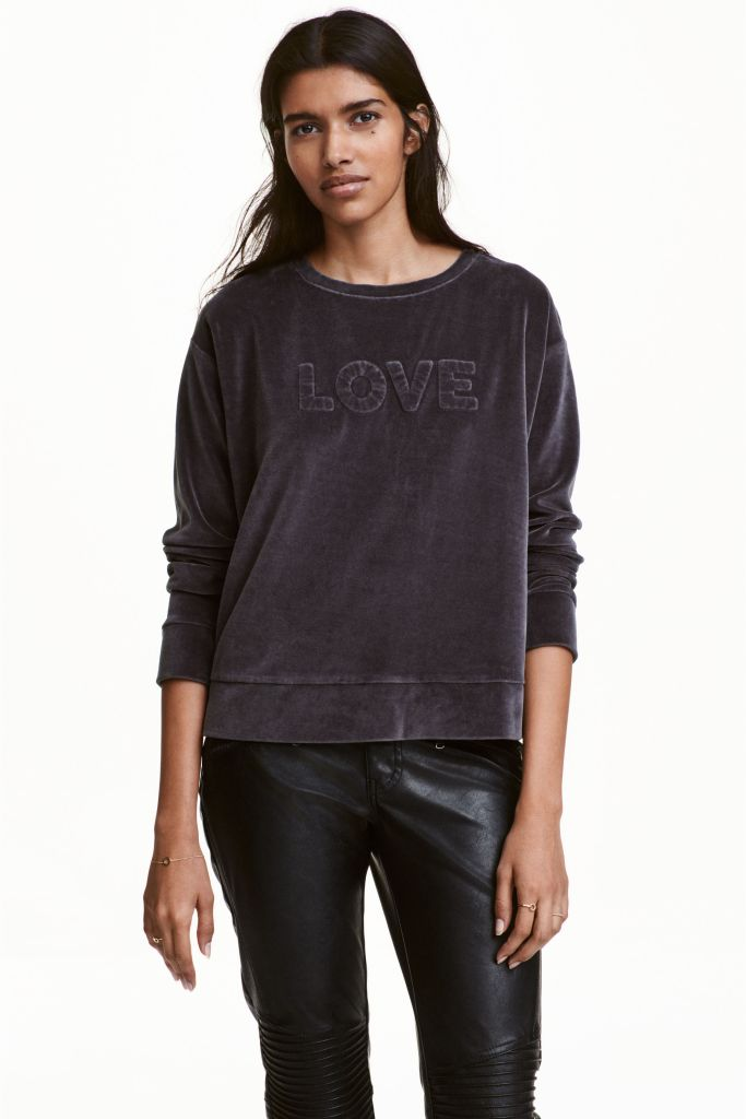 Sweat Love en velours H&M