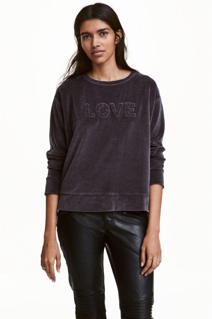 Sweat Love en velours H&M