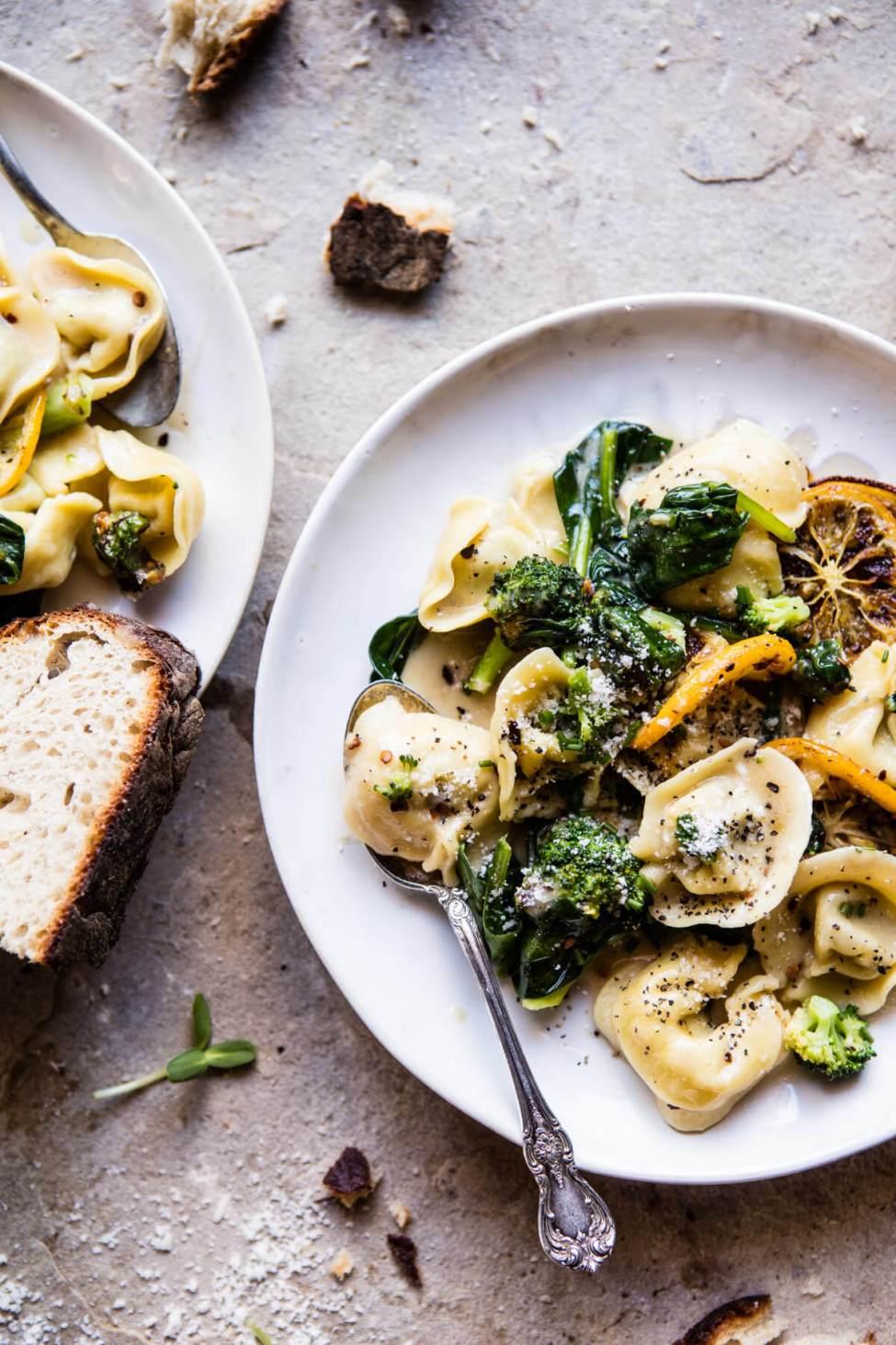 Recette végétarienne Pinterest - Tortellini au fromage de chèvre et brocolis