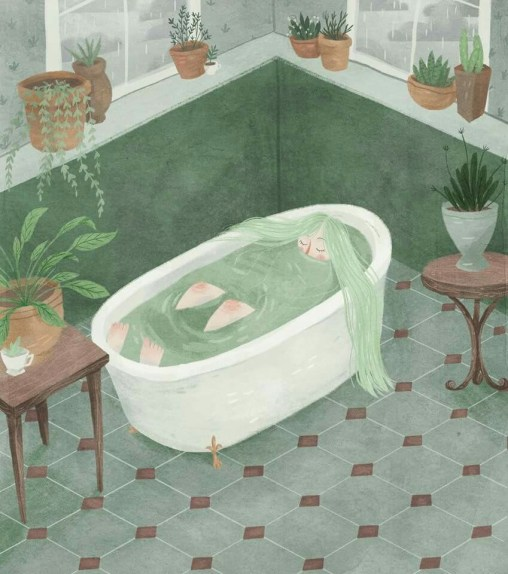 Girl with green hair in her bath Drawing