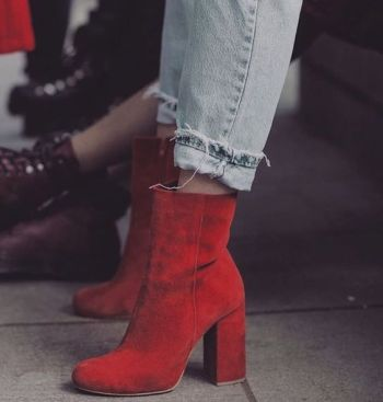 Suede Ankle Red Boots