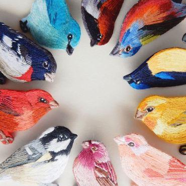 Broches oiseaux - Broderie - Lera Petunia