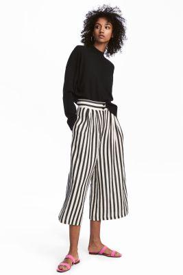 Jupe culotte blanche à rayures bleues marine - H&M