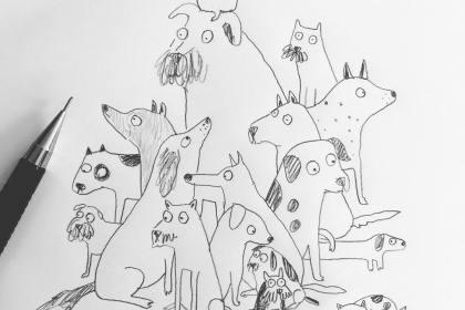 Lorna Scobie - Illustration Chiens au crayon de papier