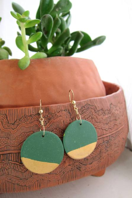 Stone Wares by Cassie - Boucles d'oreilles or verts