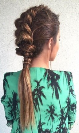 French braid and ponytail