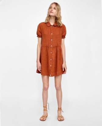 Robe en lin boutonnée Zara